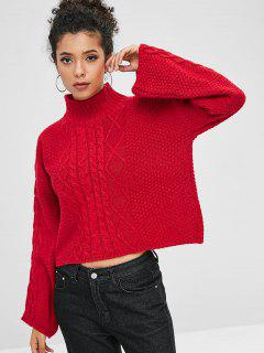 Mock Neck Cable Knit Boxy Sweater - Red