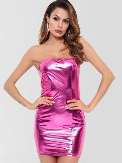 Vestido Ajustado Sin Tirantes Brillante - Rosa Neón L