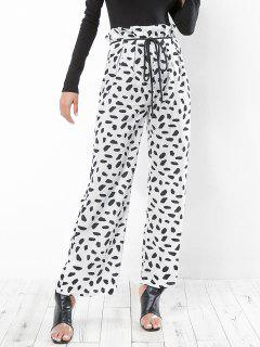 Leopard Print Belted Wide Leg Pants - White M