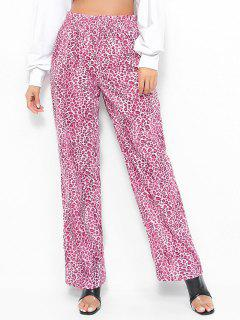 Hose Mit Weitem Bein Und Leopardenmuster - Rosa Rose L