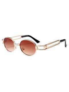Unisex Oval Metal Hollowed Frame Sunglasses - Brown