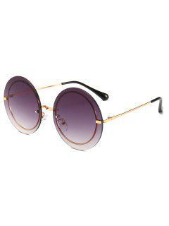 Metal Frame Round Rimless Modern Sunglasses - Gray