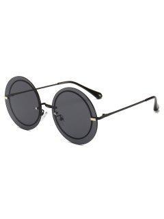 Metal Frame Round Rimless Modern Sunglasses - Black