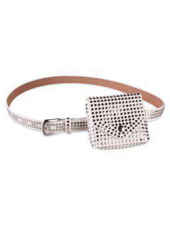 Rivet Embellished Fanny Pack Belt - White