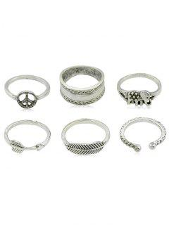Elephant Pattern Bohemian Style Adjustable Ring Set - Silver