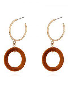 Wood Ring Drop Metal Ring Stud Earrings - Light Brown