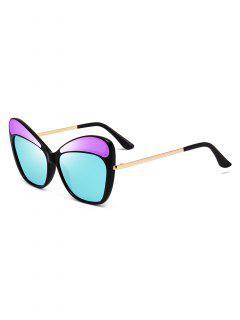 Metal PC Butterfly Shape Frame Sunglasses - Sky Blue
