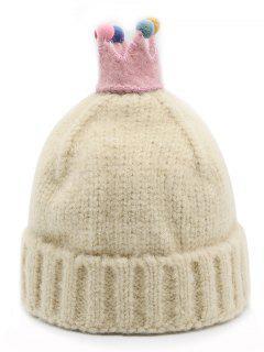 Crown Design Winter Flanging Beanie - Beige