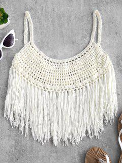 Fringed Crochet Cami Top - Warm White M