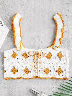 Frilled Lace-up Crochet Top - White