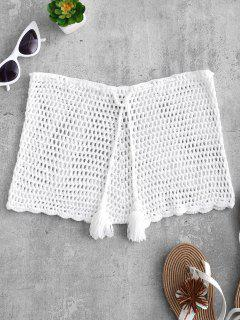 Short En Crochet à Cordon - Blanc Chaud S