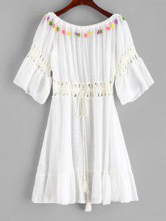 Robe Asymétrique Pannneau Au Crochet à Epaule Dénudée à Franges - Blanc
