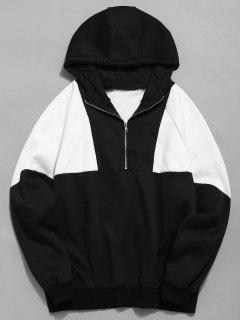 Half Zipper Color Block Fleece Hoodie - Black L