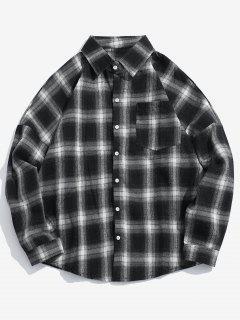 Drop Shoulder Plaid Shirt With Pocket - Black L