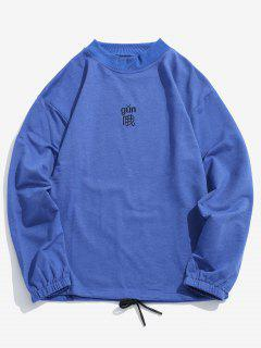 Character Embroidery Drawstring Hem T-shirt - Blue 3xl