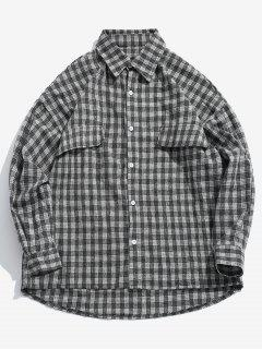 Houndstooth Loose Fitting High Low Shirt - Black M