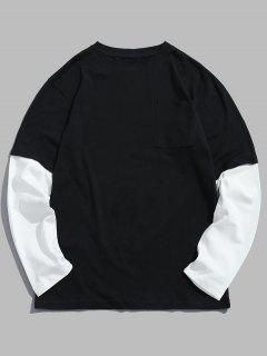 Caída De Hombro De Dos Tonos De La Camiseta - Negro 3xl