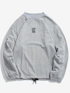 Character Embroidery Drawstring Hem T-shirt - Gray Cloud 4xl