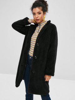 Fluffy Shearling Single Breasted Coat - Black S