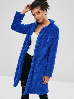 Fluffy Shearling Single Breasted Coat - Blue M