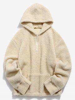 Solid Pocket Fluffy Hoodie - Milk White Xl