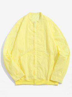 Front Pockets Zip Fly Jacket - Cornsilk 4xl