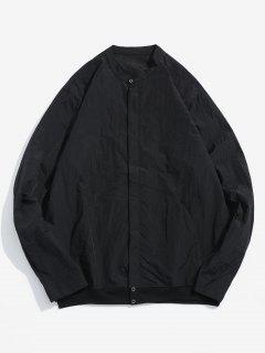 Front Pockets Zip Fly Jacket - Black 3xl