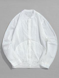 Front Pockets Zip Fly Jacket - White L