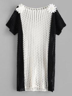 Robe Applique Au Crochet Fleur Bicolore - Multi-a