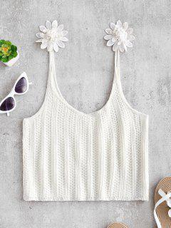 Flowers Crochet Cami Top - White Xl