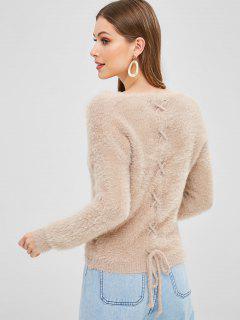 Suéter Con Cuello En V Con Cordones En La Espalda - Camel Marrón