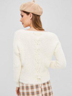 Suéter Con Cuello En V Con Cordones En La Espalda - Blanco