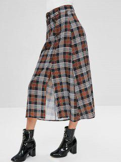 Button Up Plaid Belted A Line Skirt - Multi S