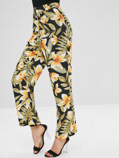 Wide Leg Floral Printed Pants - Multi L