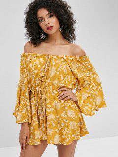 Off Shoulder Floral Print Wide Leg Romper - Yellow M