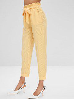 Striped Belted Straight Cuffed Pants - Yellow S