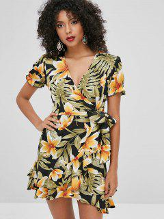 Floral Print Knotted Ruffles Dress - Multi M