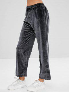 Drawstring Velvet Pants - Gray M