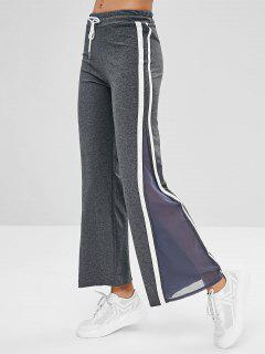 Striped Mesh Insert Flare Pants - Dark Gray M