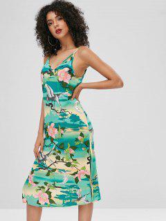 Crane Floral Print Slits Cami Dress - Multi M