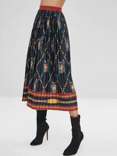 Falda Plisada Estampado Floral De Cadenas - Multicolor M