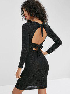 Sequined Open Back Bodycon Dress - Black M