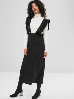 Faux Pearls Ruffles Slit Suspender Skirt - Black S