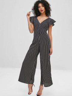 Stripes Open Back Wide Leg Jumpsuit - Black L