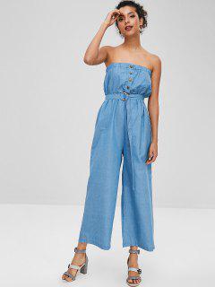 Snap Button Strapless Wide Leg Jumpsuit - Denim Blue M