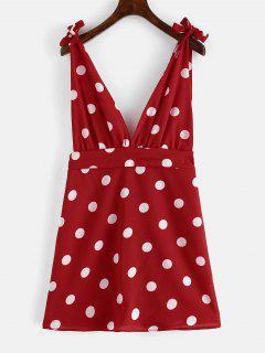 ZAFUL Mini Robe à Pois Et à Bretelles - Rouge Lave L
