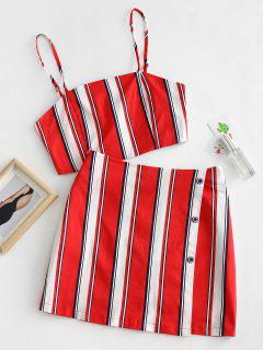 ZAFUL Stripes Top And Side Buttoned Skirt Set - Lava Red L