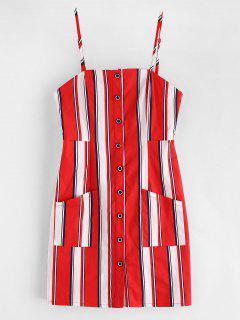 Mini Vestido Con Botones Abotonados A Rayas De ZAFUL - Rojo Lava L