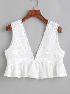 Plunging Crochet Flounce Tank Top - White M