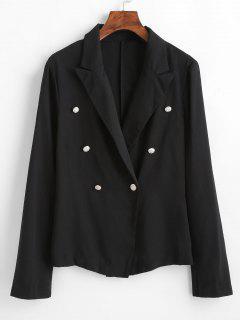 Button Embellished Lapel Blazer - Black L
